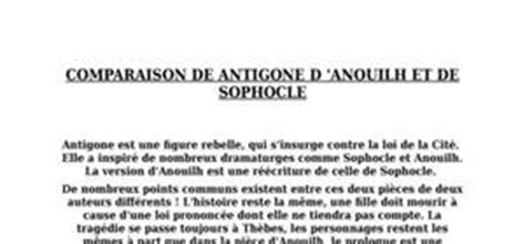 antigone resume en francais comparaison entre antigone de anouilh et de sophocle