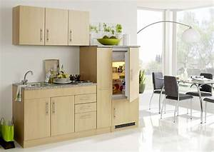 Single Einbauküchen Mit Elektrogeräten : moderne singel k che 210 cm buche dekor mit k hlschrank ~ Markanthonyermac.com Haus und Dekorationen