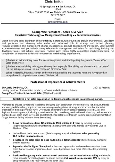 executive vp sales resume executive resume template for excel pdf and word