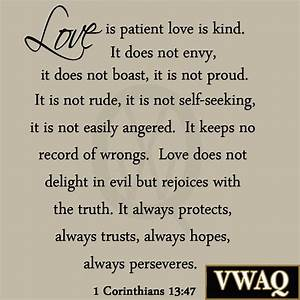 Love is Patient Love is Kind Wall Decal Marriage Bible