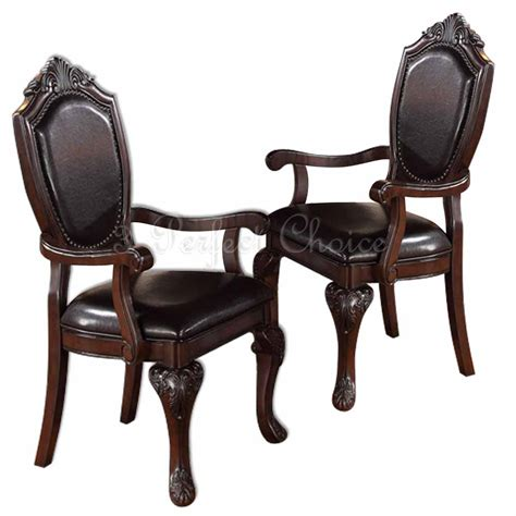 2 pc formal dining arm chair decor foot upholstered faux