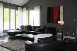 le salon gris et noir comment le decorer archzinefr With tapis de gym avec grand canape moderne