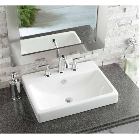 Rectangular Sinks Bathroom by Shop White Ceramic Drop In Rectangular