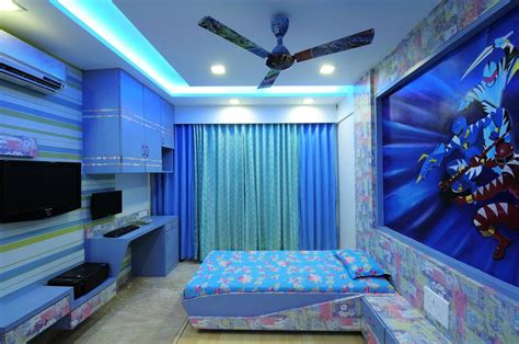 kid s blue bedroom with wallpaper design by interior