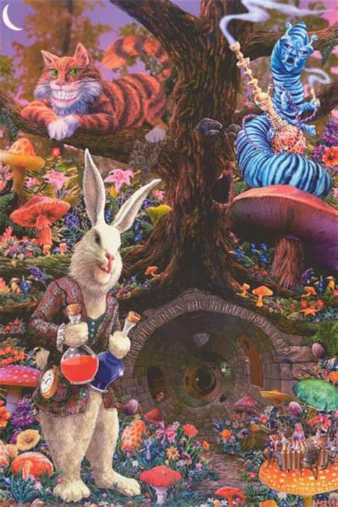 alice  wonderland rabbit hole tom masse poster