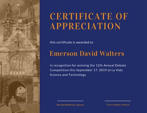 illustrated appreciation certificate templates  canva