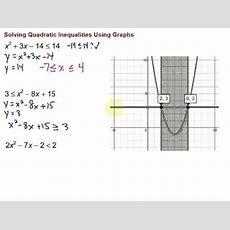 Solving Quadratic Inequalities Using Graphs Youtube