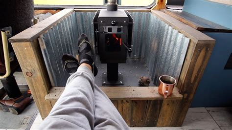 wood stove    grid tiny house bus conversion bus
