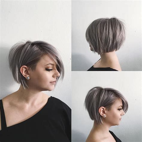 this undone voluminous silver bob with clean lines and