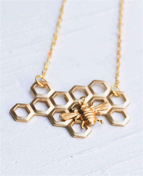 honey bee honeycomb necklace beekeeper golden