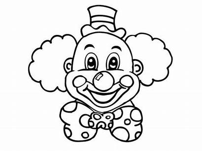 Clown Coloring Laughing Head Scary Face Drawing
