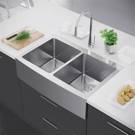 stainless farmhouse kitchen sinks exclusive heritage 33 x 22 bowl 50 50 stainless 5708