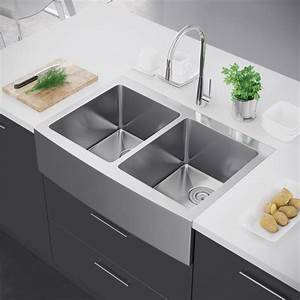 exclusive heritage 33 x 22 double bowl 50 50 stainless With apron vs farmhouse sink