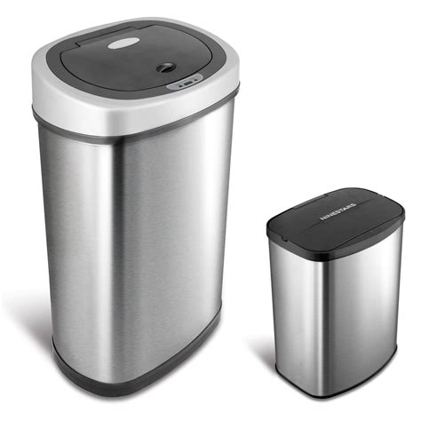 kitchen trash can nine combo touchless stainless steel 13 2 and 2 1