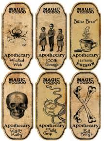 Halloween 6 large magic voodoo apothecary bottle labels stickers scrapbooking