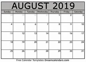 Calender August Printable August 2019 Calendar