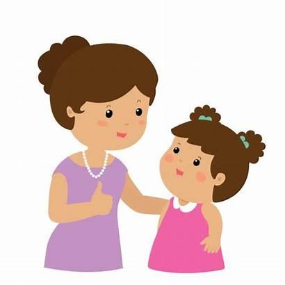 Mother Cartoon Daughter Admire Mom Vector Character