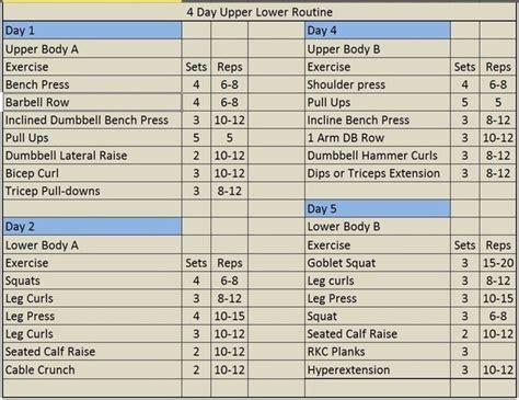 5 day upper lower split routine