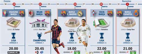 Calendario del FC Barcelona para octubre-noviembre