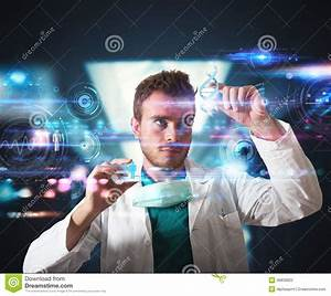 Doctor With Futuristic Touchscreen Interface Stock Photo ...