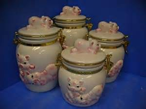 pig kitchen canisters pigs latching airtight 4 canisters set 3 d pig new