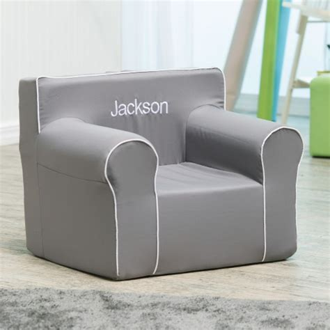 Here And There Personalized Kids Chair  Gray Canvas