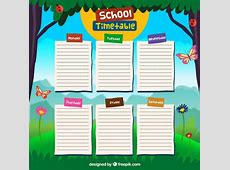 School timetable design Vector Free Download