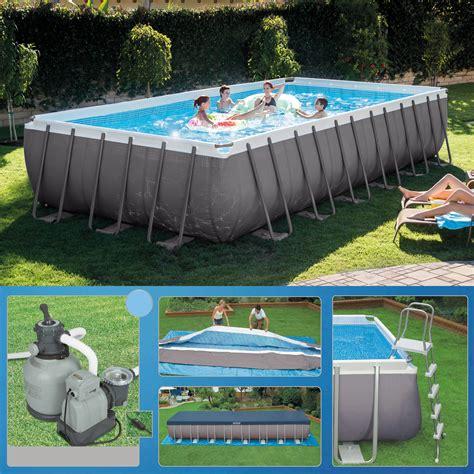 rechteck pool komplettset intex 732 x 366 x 132 swimming pool rechteck stahlbecken frame schwimmbad 28362 ebay