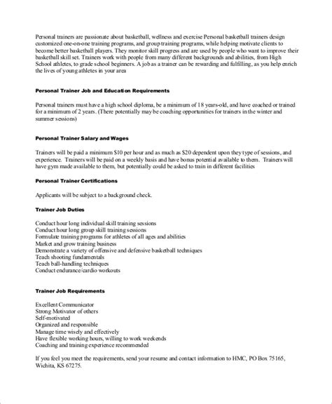 sle personal trainer resume 9 exles in word pdf