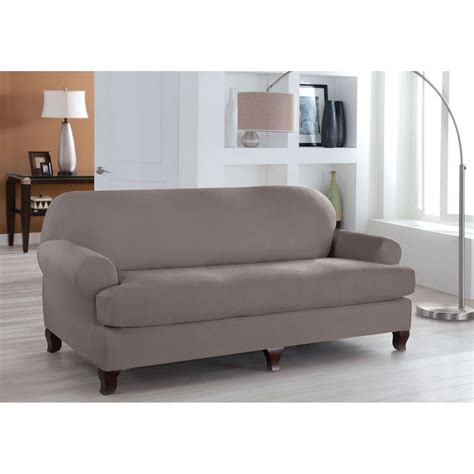 2 piece t cushion sofa slipcover stretch fit grey two piece t cushion sofa slipcover