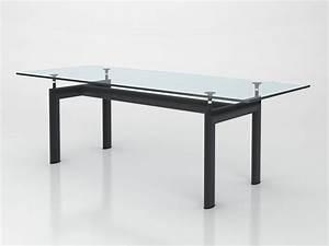 Table En Metal : table le corbusier en m tal et verre ~ Teatrodelosmanantiales.com Idées de Décoration