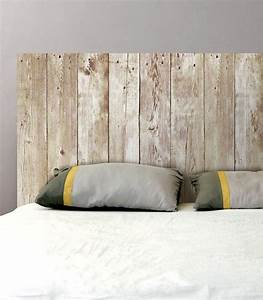 Tete De Lit En Bois Pas Cher : sticker mural t te de lit planches de bois sticker pas cher ~ Teatrodelosmanantiales.com Idées de Décoration