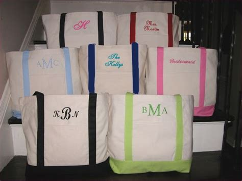 monogrammed canvas tote bag  personalized tote bags