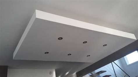 d 233 roch 233 plafond descendu suspendu ilot central decaissement design spots caisson placo platre