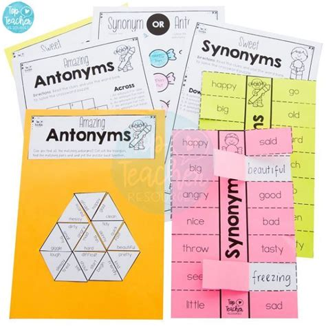 antonym  synonym worksheet package top teacher