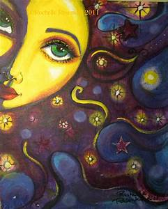 Sun face painting Celestial goddess art Original 8 x 10 ...