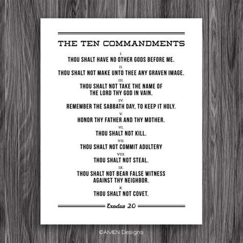 ten commandments printable design   etsy