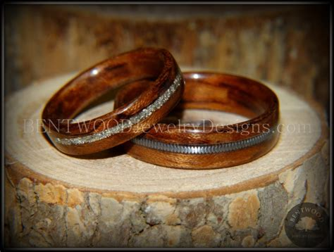 wooden wedding ring bentwood bubinga wood wedding rings glass inlay guitar 1492