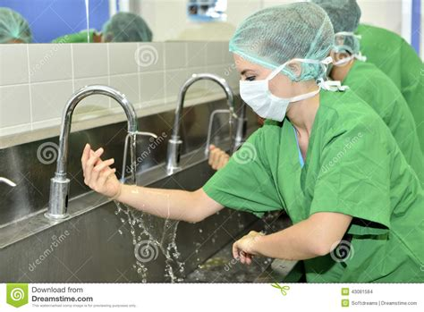 doctor washing hands  surgery stock photo image