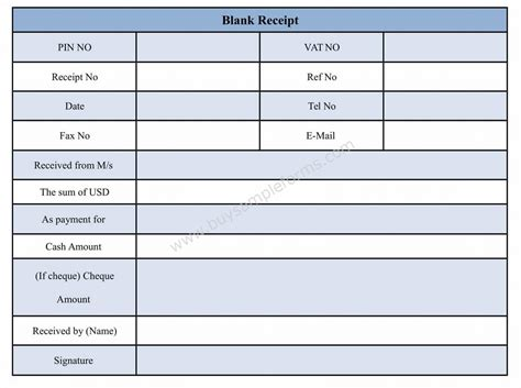blank receipt forms download blank receipt form template and sle