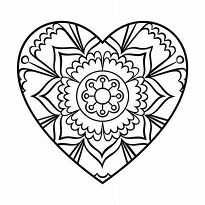 Mandala Heart Coloring Outline Floral Doodle Pages