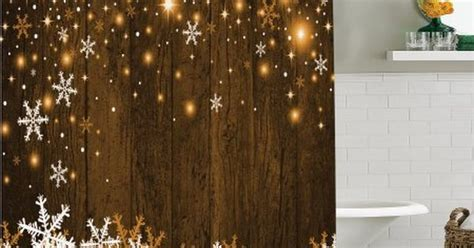 christmas decorations shower curtain set rustic wooden