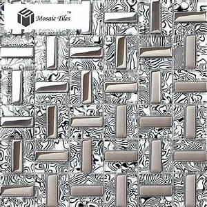 Tst glass tiles black silver white stripe zebra grain