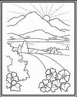 Sunset Coloring Pages Getdrawings Mountains sketch template
