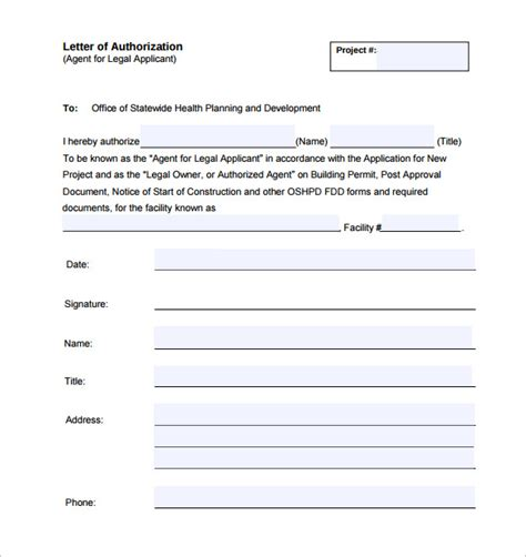Free Letter of Authorization Form