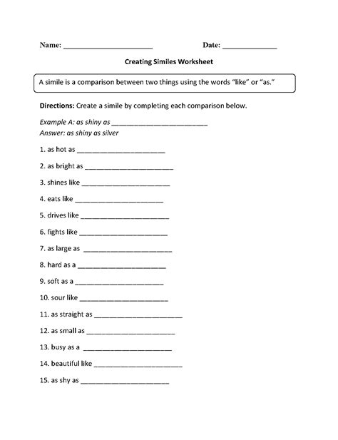 englishlinxcom similes worksheets