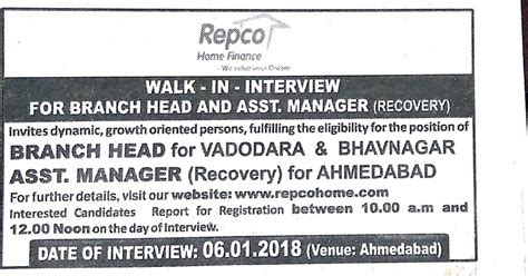 Repco  Ee  Home Ee   Finance Ltd Recruitment Ofnch Heads And