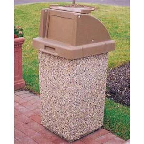 Wausau Tile Trash Can trash receptacle 30 gallon concrete push door lid tray