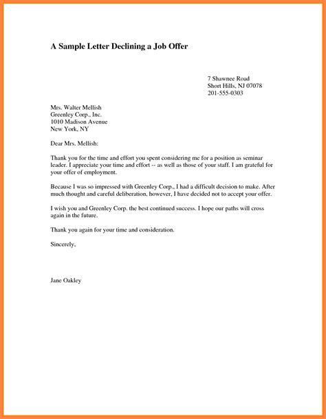 decline offer letter marital settlements information