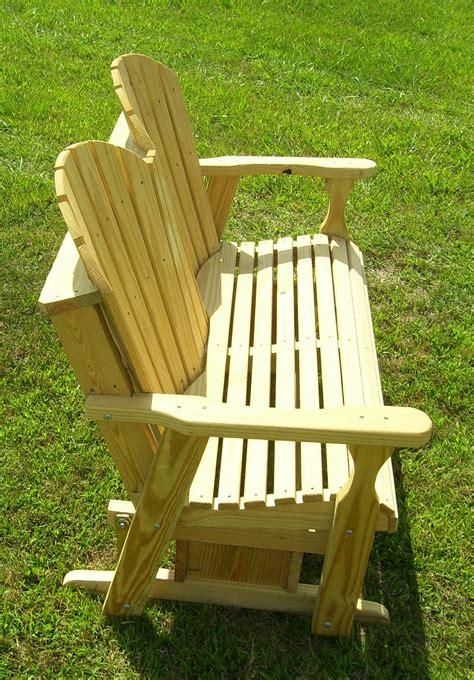 Treated Wood Adirondack Glider Bench  Backyard World